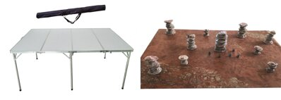 6'x4' Folding Table + 6'x4' Doublesided Game Mat + Desert Rocks Full Set