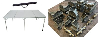6'x4' Folding Table + 6'x4' Doublesided Game Mat + Industrial Ruins and Pipes Full Set