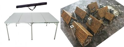 6'x4' Folding Table + 6'x4' Game Mat + Medieval Houses and Bridge Set