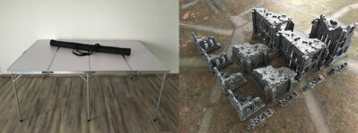 6'x4' Folding Table + 6'x4' Doublesided Game Mat + Ruins Full Set