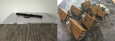6'x4' Folding Table + 6'x4' Doublesided Game Mat + Medieval Houses and Bridge Set