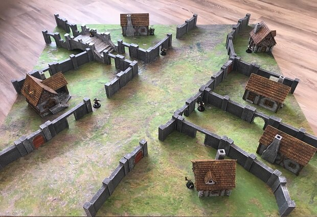 Medieval Houses and Bridge Set and City Walls
