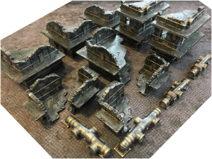 Industrial Ruins and Pipes Full Set + 6'x4' Game Mat
